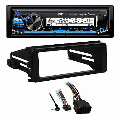 Harley 2014-15 FLHT Adapter DIN Kit, JVC Marine Bluetooth USB AUX AM FM Receiver