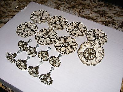 Vintage French Provincial White Knobs, Matching Backplates Art Deco