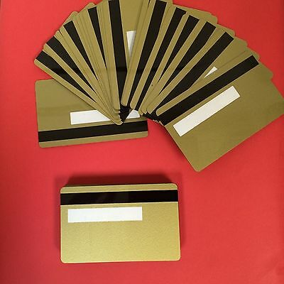 100 Gold PVC Cards-HiCo Mag Stripe 2 Track with signature panel- CR80 .30 Mil