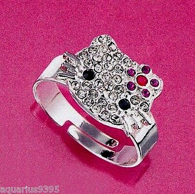 Hello Kitty Adjustable Ring Sparkling Collection Size Large 8-9 Avon