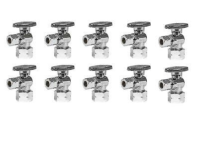 "(10) 5/8"" OD X 3/8"" Inlet 1/4 Turn Compression Angle Stop Valve Chrome Lead Free"
