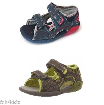 Clarks boys Pugsley navy blue green sandals sizes 5 5.5 6 6.5 G