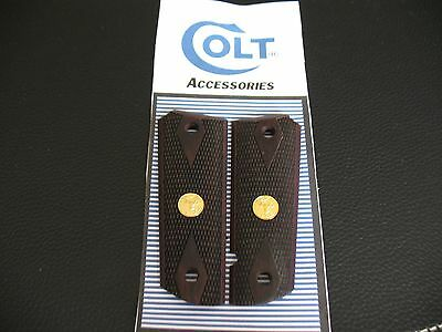 Checkered Rosewood Double Diamond Grips for COLT 1911 With Colt Gold Medallions