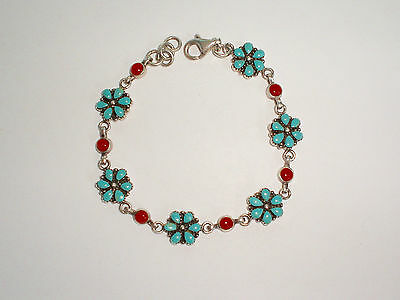 Vintage 925 SW NA Sterling Silver Turquoise & Coral Daisy/Flower Panel Bracelet