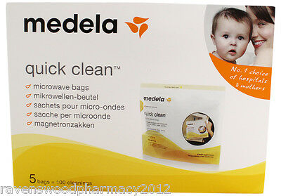 Medela Quick Clean Microwave Bags (5 Bags = 100 Cleanings!) :Fast, Safe, Easy: