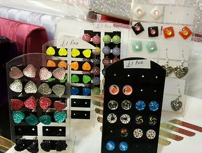 wholesale New ladies girls 50 pc Earing joblot Ear Stud with display Stand