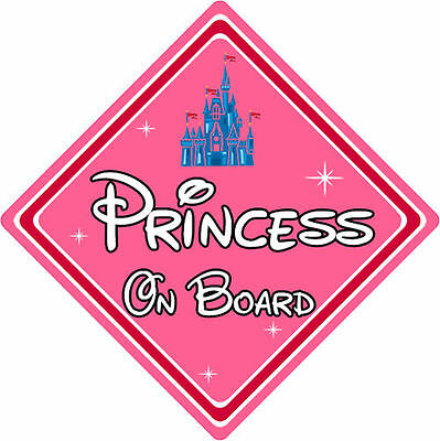 Disney Princess On Board Car Sign – Baby On Board Car Sign – Princess Castle