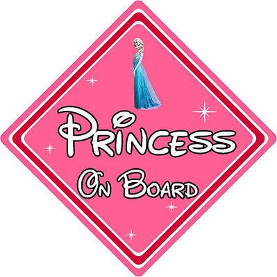 Disney Princess On Board Car Sign – Baby On Board Car Sign – Elsa From Frozen
