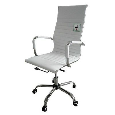 Designer High Back Ribbed Leather Computer Office Chair White