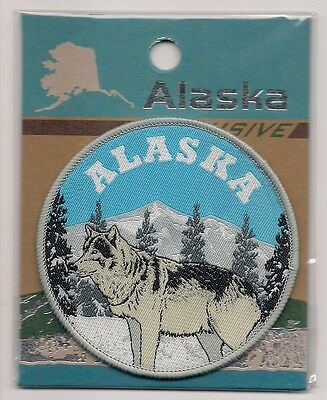 Souvenir Patch  - State Of Alaska - Wolf