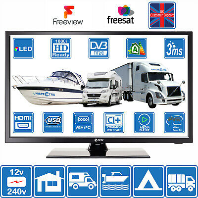 "12V / 240V 22"" Inch FHD LED Digital Freeview TV MOTORHOME CARAVAN BOAT USB PVR"