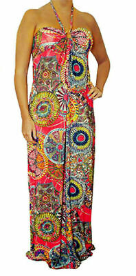 L3X Womens Brown Multi Color Summer Beaded Maxi Halter Long DRESS Juniors S M L