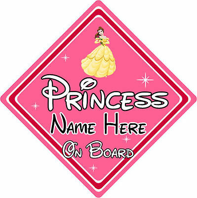 Personalised Disney Princess On Board Car Sign – Belle From Beauty & The Beast