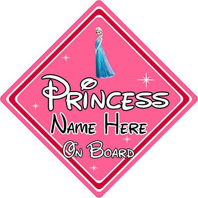 Personalised Disney Princess On Board Car Sign – Baby On Board Elsa From Frozen