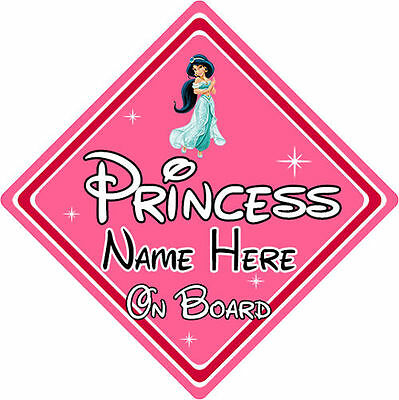 Personalised Disney Princess On Board Car Sign – Jasmine From Aladdin