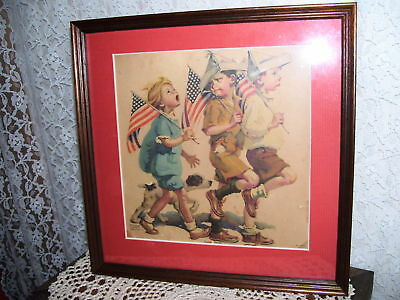 Patriotic Framed Print Boy Scouts W/ Flag Yankee Doodle By Frances Tipton Hunter