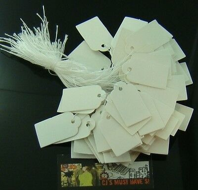 100 500 SWING PRICE TAGS 23x13mm WHITE RECTANGLE CARD STRING TICKET RETAIL LABEL