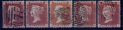 Great Britain 1840's 1d Penny Red Perforated Varieties & Plate Re-Entries - V/F