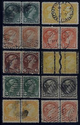 Canada Small Queen Pair Strips of 2 stamps - Fancy Cancels/Shades Lot 1 VF/VF+