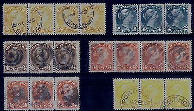 Canada Small Queens - 3 & 4 stamp strips  - Scott #35, 36, 37, 39, 41  V/F