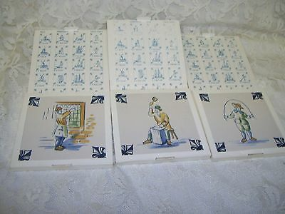 KLM AIRLINES DELFT DUTCH TILE TRIVETS WINDMILLS  BOATS GABLES 1980 's SET / 14