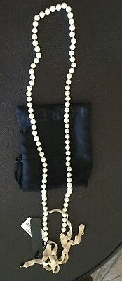 VINTAGE J CREW RIBBON TIE PEARL SINGLE STRAND NECKLACE JEWELRY - New With Tags