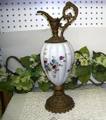 Antique Ewer Pitcher Ornate Bronze With Handpainted White Glass