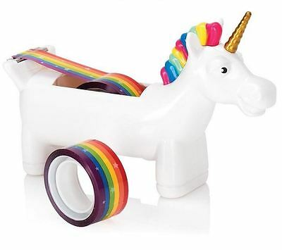 Cute Office Desktop Magic Unicorn Tape Dispenser w/ 2 Rolls of Rainbow Tape