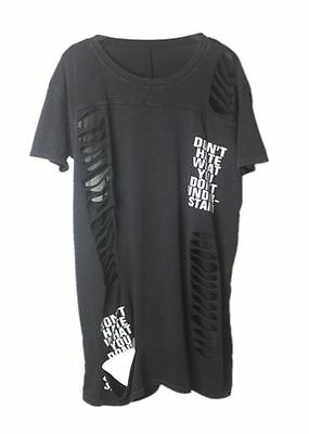 Rock Punk Gothic Long Baggy Tee Shirt Top Ripped Emo Grunge Frayed Hipster Swag