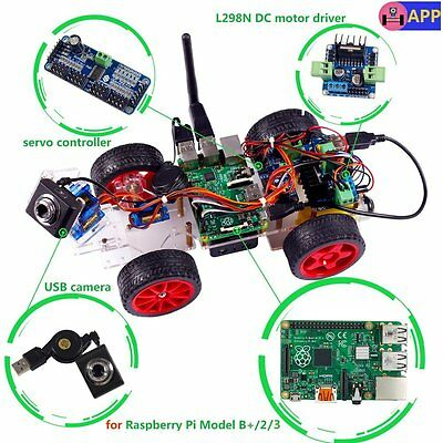 SunFounder Smart Video Car Kit with Android App For Raspberry Pi B+ RPi 1 ,2,3