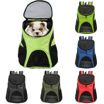 Pet Dog Puppy Backpack Carrier Travel Note Bag Front Net Double Shoulder UK