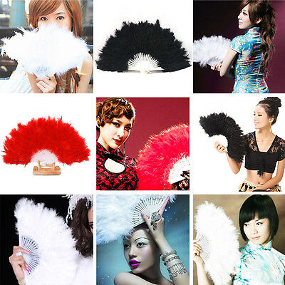 New Fluffy Lady Burlesque Wedding Hand Fancy Dress Costume Dancing Feather Fan