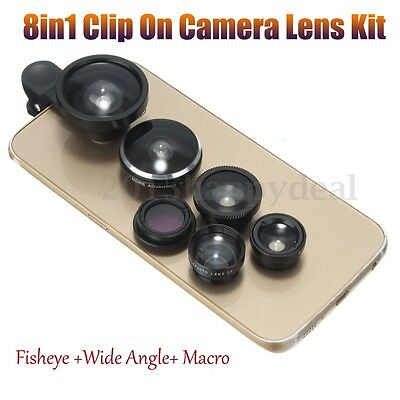 8in1 Clip On Camera Lens Teleconver Kit Fisheye +Wide Angle+Macro for Cell Phone