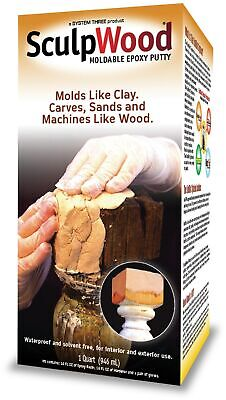 System Three 1600k16 Quart Sculpwood® Moldable Epoxy Putty,No 1600K16