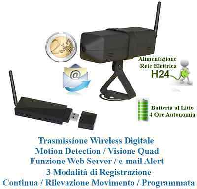Mini Micro Camera Microcamera Wireless Spia + Ricevitore Usb Per Pc Windows