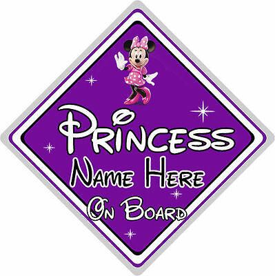 Personalised Disney Princess On Board Car Sign – Minnie Mouse – Purple