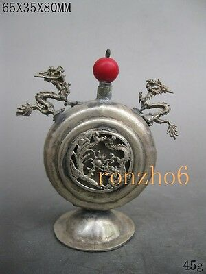 Chinese old Decorated Rare Miao Silver Carve Dragon Phoenix  Snuff Bottle