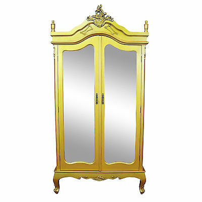 NEW French Antique GOLD Chateau Shabby Chic Mirrored Double Armoire Wardrobe