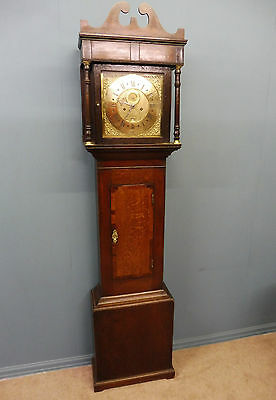 Georgian Oak And Mahogany  Brass Faced 8 Day Grandfather Clock John-Lupton