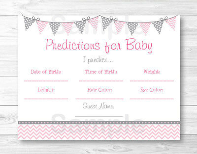 Modern Pink Chevron Baby Shower Baby Predictions Game Cards Printable
