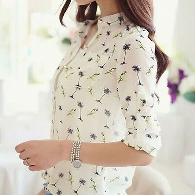 Ladies Women Floral Long Fashion Blouse Chiffon T Casual Sleeve Shirt Print