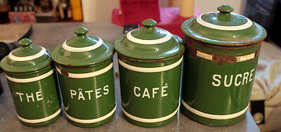 Vintage Set Of 4 French Green Enalmelware Canisters