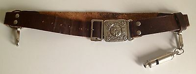 "Vintage 26"" Girl Guides Leather Belt  with Official Buckle & Acme Guide Whistle"