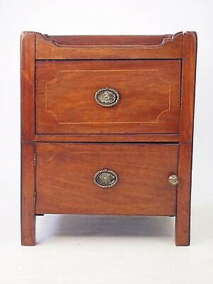 Antique Georgian Mahogany Bedside Cabinet -Hall Pot Cupboard Side Night Stand