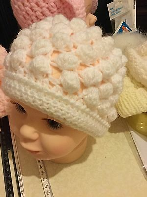 Handmade Baby Girls Hat Knitted Bonnet Beanie Hat White 0-6 Months Crochet