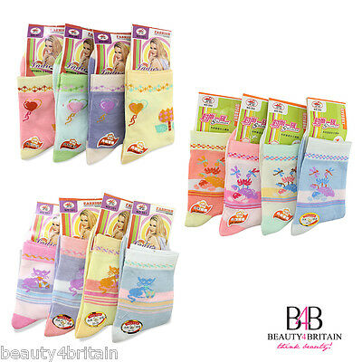 Girl's Socks Everyday Cotton Rich 80% 10-13 Years Different Designs Wholesale