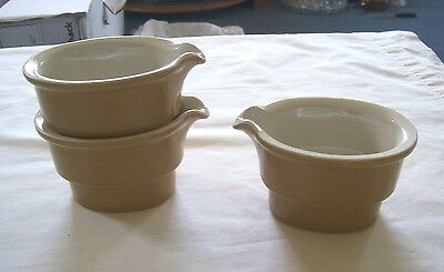 3 Older Hall China Restaurant Ware Individual Glossy Gold/white Stack Creamers