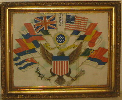 Scarce 'ALL FOR ONE ONE FOR ALL' World War 1 Cronin LITHOGRAPH - United States