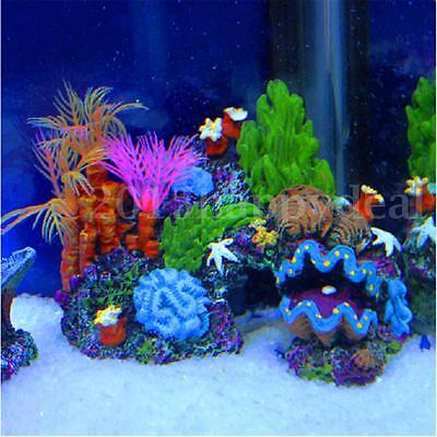 Resin Coral Plant Shell Reef Mountain Fish Tank Cave Aquarium Ornament Decor Hot