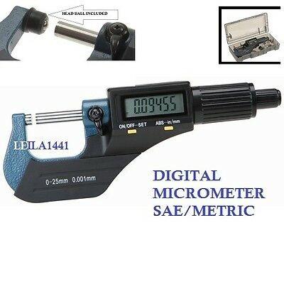 """Digital Electronic Outside Micrometer Carbide Tip NEW 0-1""""/0.001"""" X-Large LCD"""